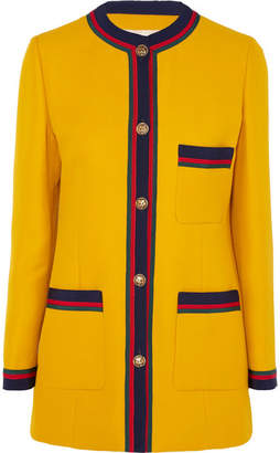 Gucci Grosgrain-trimmed Wool And Silk-blend Blazer - Yellow