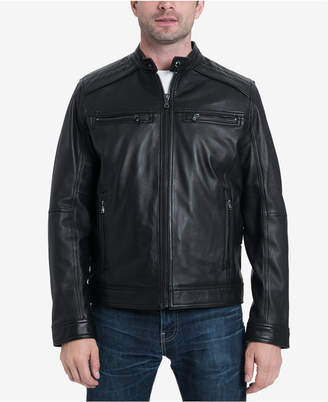Michael Kors Men's Big & Tall Perforated Moto Leather Jacket, Created for Macy's