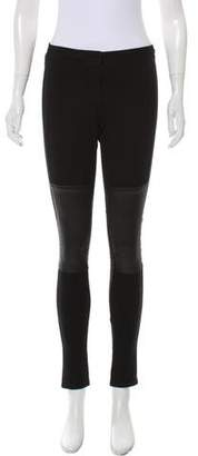 Helmut Lang Leather-Accented Skinny Jeggings