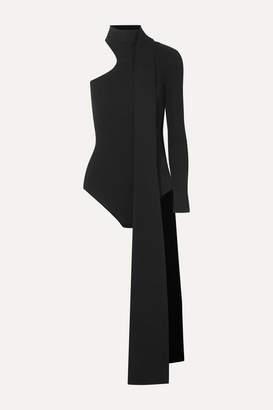 16Arlington One-shoulder Tie-neck Ribbed Stretch-knit Bodysuit - Black
