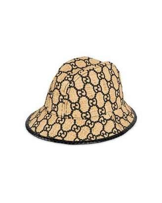 Gucci Raffia Interlocking G Embroidered Fedora Hat