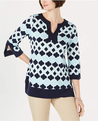 Charter Club Geo-Print Contrast-Trim Tunic Top, Created for Macy's