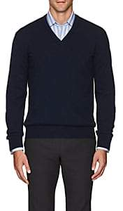 Barneys New York Men's Cashmere V-Neck Sweater - Navy