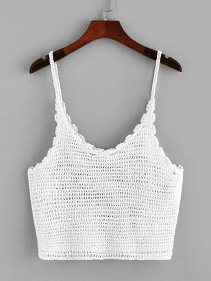 8cba2d633bb69a Shein Loose Knit Crochet Cami Top