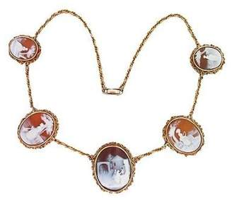 14K Yellow Gold with Cameo Rope Chain Necklace