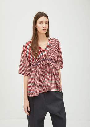 Zucca Cupro Gingham Check Top Red