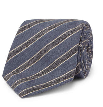 Canali 8cm Striped Mélange Wool And Silk-Blend Tie