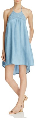 Bella Dahl Embroidered High/Low Chambray Dress $158 thestylecure.com
