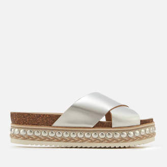 at TheHut.com Carvela Women's Kake Leather Cross Front Flatform Sandals