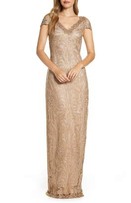 Tadashi Shoji Cold Shoulder Lace Column Gown