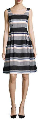 Kate Spade Kate Spade New York Sleeveless Striped Taffeta Dress, Black