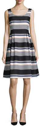 Kate Spade New York Sleeveless Striped Taffeta Dress, Black $478 thestylecure.com