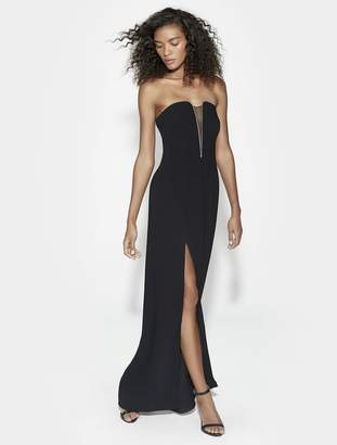 Halston STRAPLESS DEEP V NECK FITTED GOWN