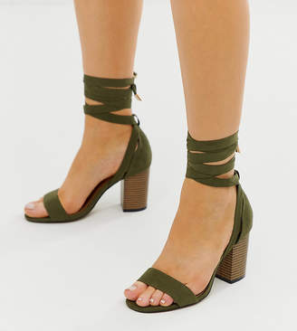 1dde0ff3b8 Asos Design DESIGN Wide Fit Howling tie leg heeled sandals in khaki