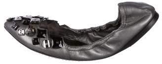 Miu Miu Leather Pointed-Toe Flats