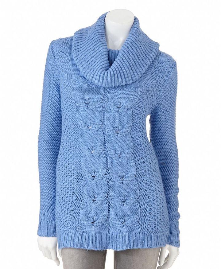 Elle TM cable-knit cowlneck sweater