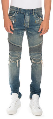 Balmain Distressed Denim Moto Jeans, Blue $1,495 thestylecure.com