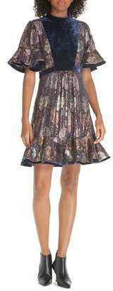 Rebecca Taylor Velvet and Metallic Tapestry Dress