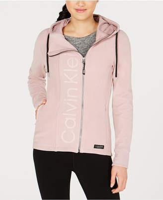 Calvin Klein Asymmetrical-Zip Logo Hooded Fleece Jacket