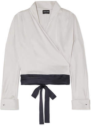 Giorgio Armani Cropped Silk-satin Blouse - Gray