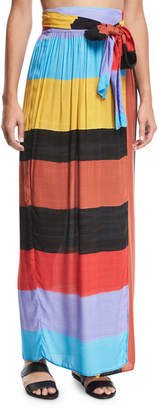 Mara Hoffman Cora Colorblocked Convertible Coverup Maxi Skirt/Dress
