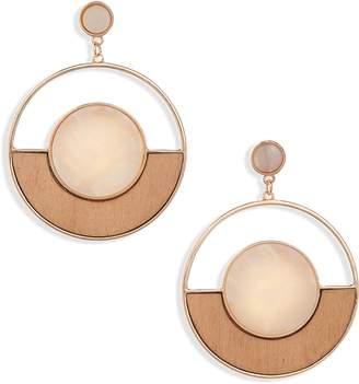 BP Wood & Resin Frontal Hoop Earrings