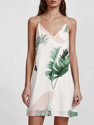 Shein Palm Leaf Print Double V Neck Cami Dress