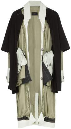 Raf Simons double layer mohair wool trim over coat