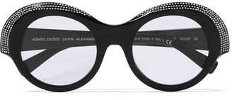 Alexandre Vauthier + Alain Mikli Roselyn Round-frame Crystal-embellished Acetate Sunglasses - Black