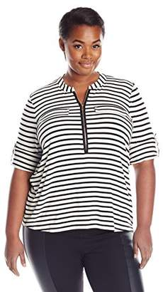 ade63d2a90e51 at Amazon.com · Calvin Klein Women s Plus Size Modern Essential Zip Front  Roll Sleeve Blouse