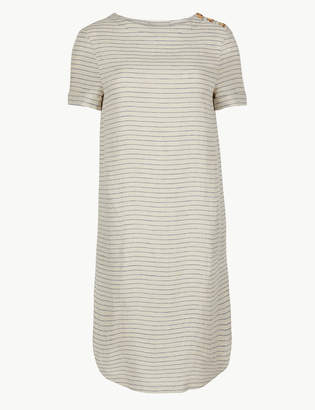 Marks and Spencer Pure Linen Striped Shift Dress