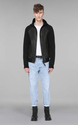 Mackage GIBB BOMBER STYLE SMOOTH LEATHER HOODED JACKET