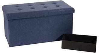 Seville Classics Foldable Tufted Storage Bench Ottoman