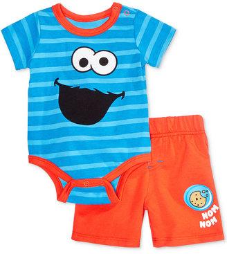 Nannette 2-Pc. Cookie Monster Striped Bodysuit & Shorts Set, Baby Boys (0-24 months) $32 thestylecure.com