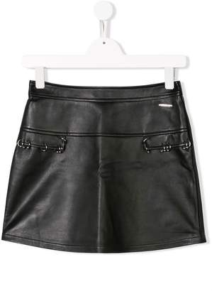 Moschino Kids TEEN pierced mini skirt