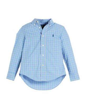 Ralph Lauren Poplin Plaid Button-Down Shirt, Size 2-4