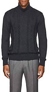 Inis Meain Men's Reverse-Cable-Knit Alpaca-Silk Sweater - Charcoal