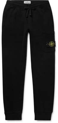 Stone Island Logo-Appliqued Slim-Fit Tapered Fleece-Back Cotton-Jersey Sweatpants