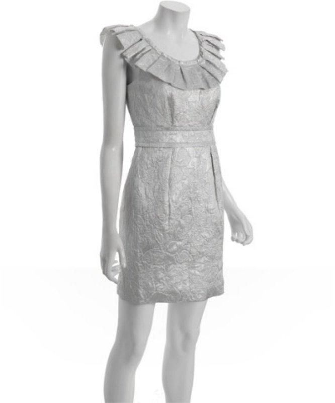 Vera Wang Lavender Label silver brocade pleat neck dress