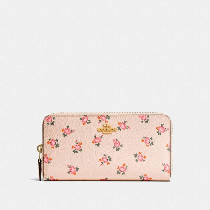 Coach Accordion Zip Wallet With Floral Bloom Print - BEECHWOOD FLORAL BLOOM/LIGHT GOLD - STYLE