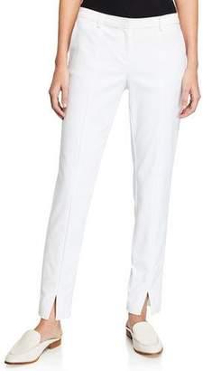 St. John Stretch Micro Ottoman Ankle Pants, Bianco