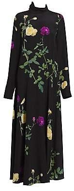 Dries Van Noten Women's Flouncy Floral Silk Midi Dress