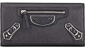 Balenciaga Women's Metallic Edge Money Wallet - Noir