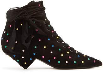 Saint Laurent Blaze point-toe crystal-embellished boots