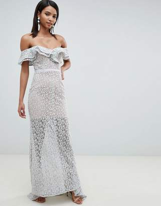 Jarlo all over lace frill bardot fishtail maxi dress in grey