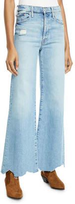 Mother Tomcat Roller Chewed-Hem Wide-Leg Jeans