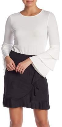 Kensie Three Tier Bell Sleeve Blouse