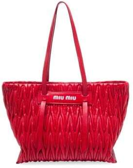Miu Miu Large Matlasse Leather Tote