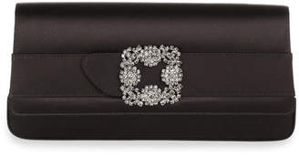 Manolo Blahnik Gothisi black satin clutch
