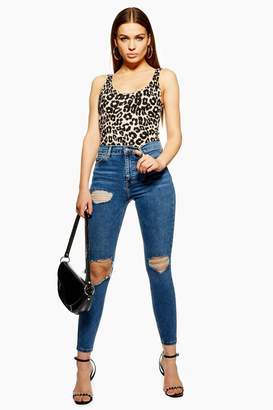 Topshop Mid Blue Wing Ripped Jamie Jeans
